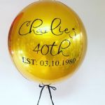 Personalised  Gold Helium Orbz Balloon